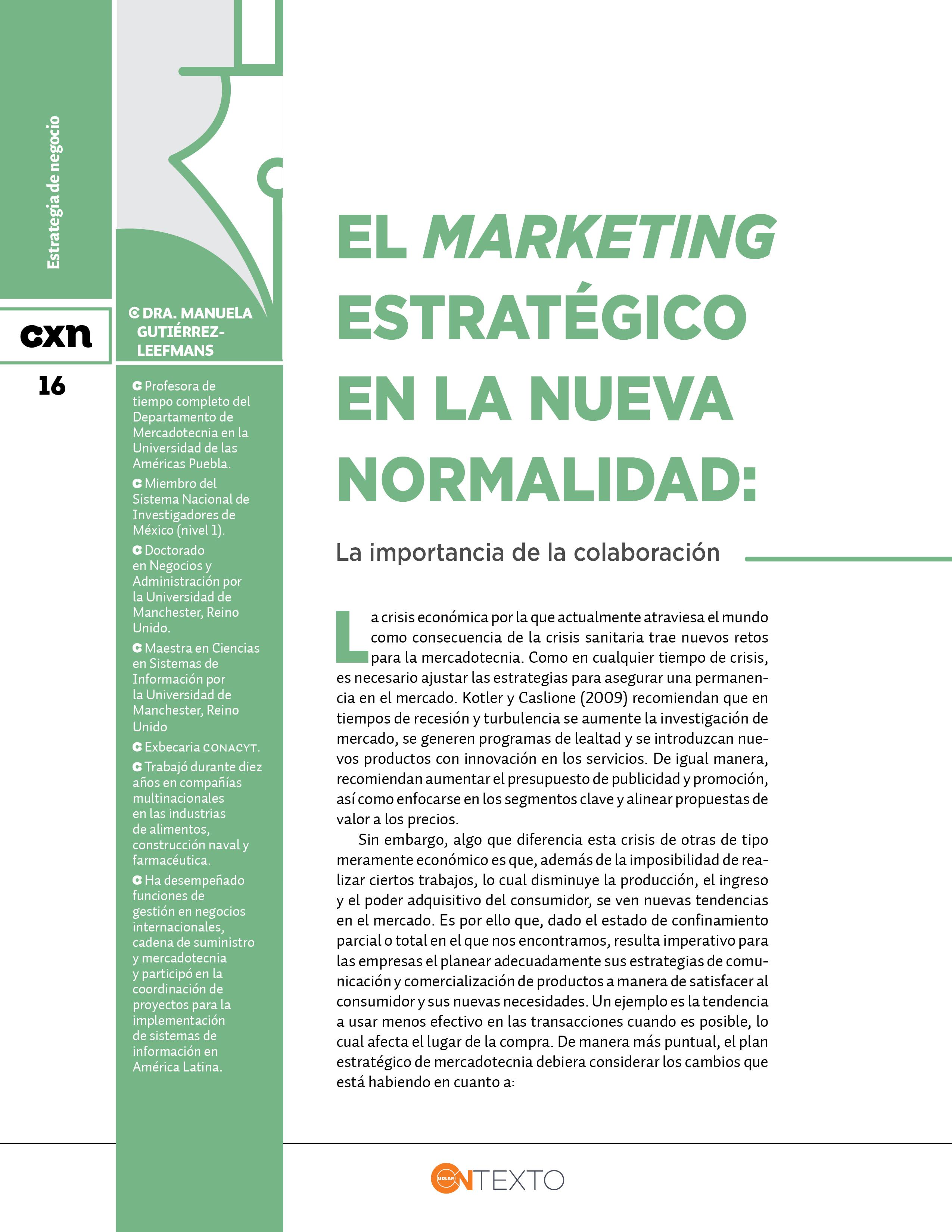 marketing estrategico en nueva normalidad Conexión Universitaria UDLAP