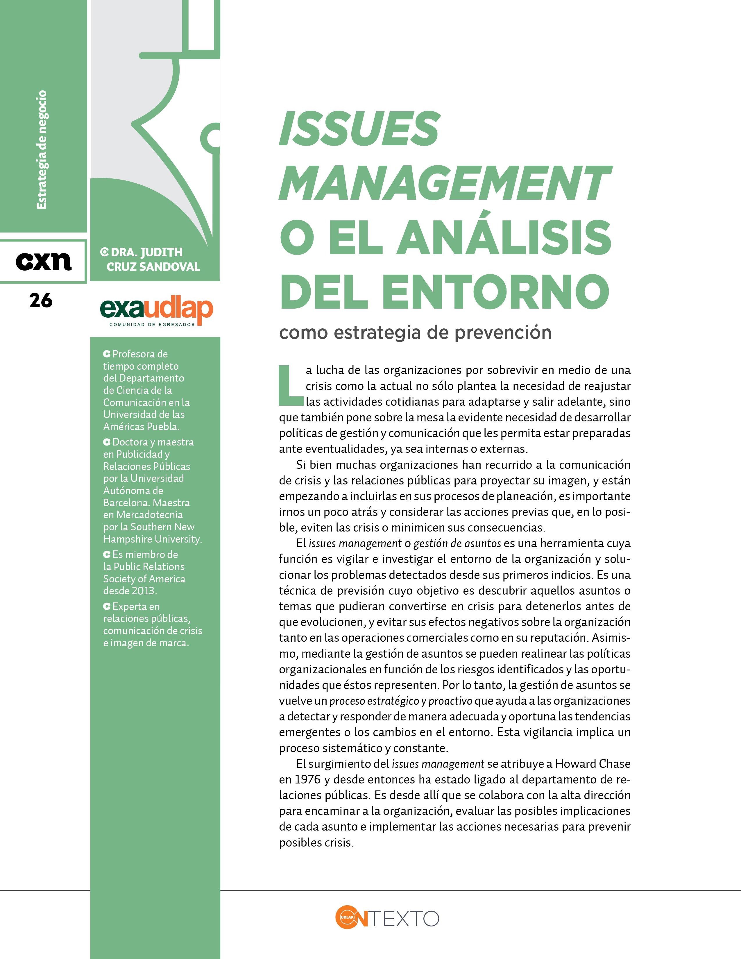 Issues Management Analisis Entorno Conexión UDLAP